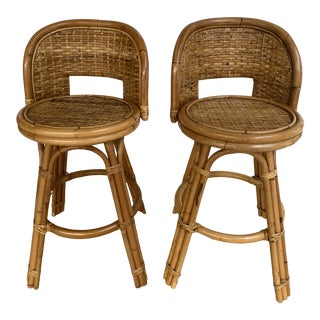 Vintage Mid Century Modern Golden Boho Chic Wicker Rattan Bar Stools - a Pair For Sale
