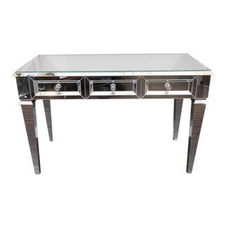 Custom Beveled Starphire Mirror Desk For Sale