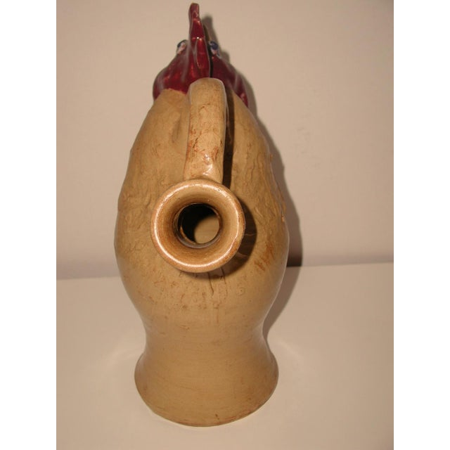 Early 21st Century Folk Art Pottery Rooster Pitcher, Signed For Sale - Image 5 of 7