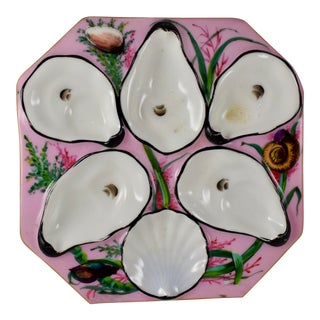Gutherz Limoges Porcelain Hand Painted Pink Oyster Plate For Sale