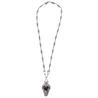 Art Deco Sterling Silver, Hematite and Marcasite Necklace For Sale