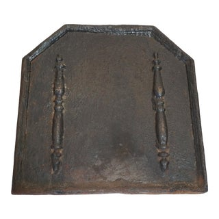 Large Antique French Andiron Relief Fireback For Sale