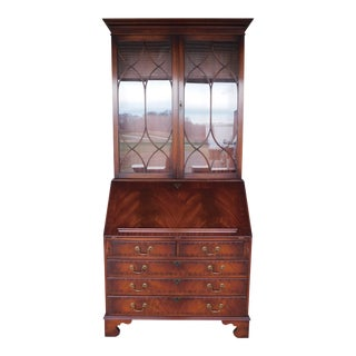 Bevan Funnell English Mahogany 2pc Secretary Desk For Sale