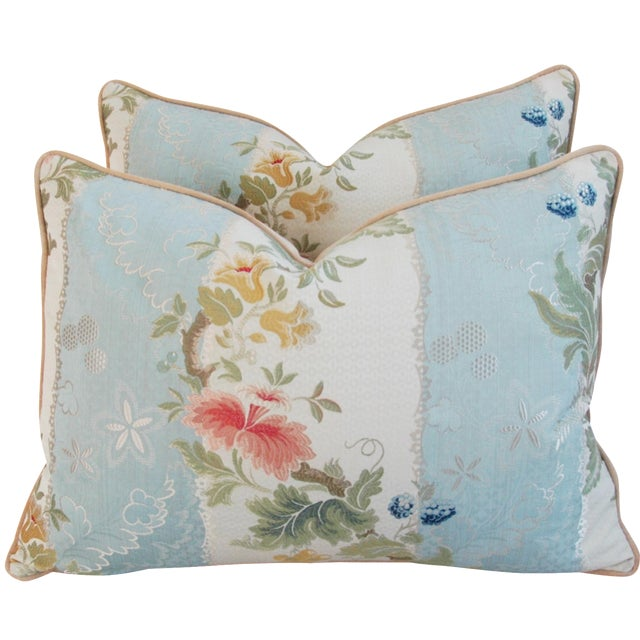 Scalamandre Silk Lampas Pillows - A Pair - Image 1 of 11