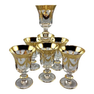 Medici Gold by Arte Italica Water Goblets - Set of 7 For Sale