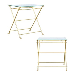 Vintage Pair of Italian Brass and Glass Folding Side Table with Sandaled Feet