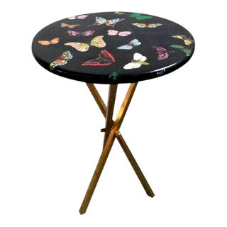 1960s Vintage Fornasetti Butterfly Side Table on Brass Tripod Legs For Sale