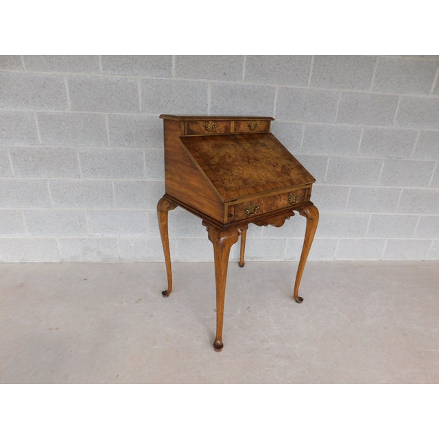 Features Quality Solid Construction - Burl Walnut Veneers, Carved Accented, 2 Dovetailed Drawers, Brass Hardware, Good...