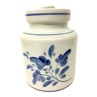 1980s Mediterranean Blue and White Cookie Jar For Sale