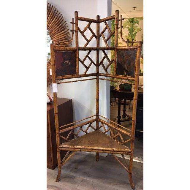 Brown Bamboo Corner Shelf For Sale - Image 8 of 8