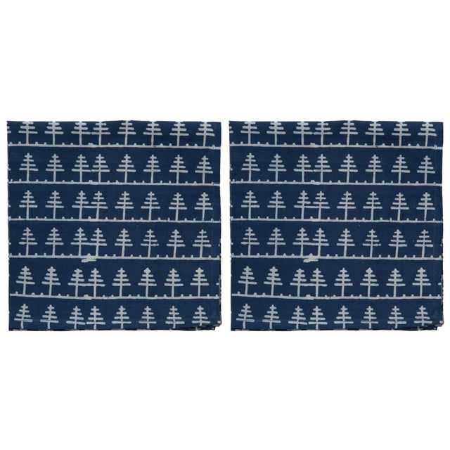 Countryside Trees Napkins, Indigo - A Pair For Sale - Image 4 of 4