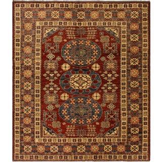 Super Kazak Garish Hermine Blue/Rust Wool Rug - 5'3 X 6'3