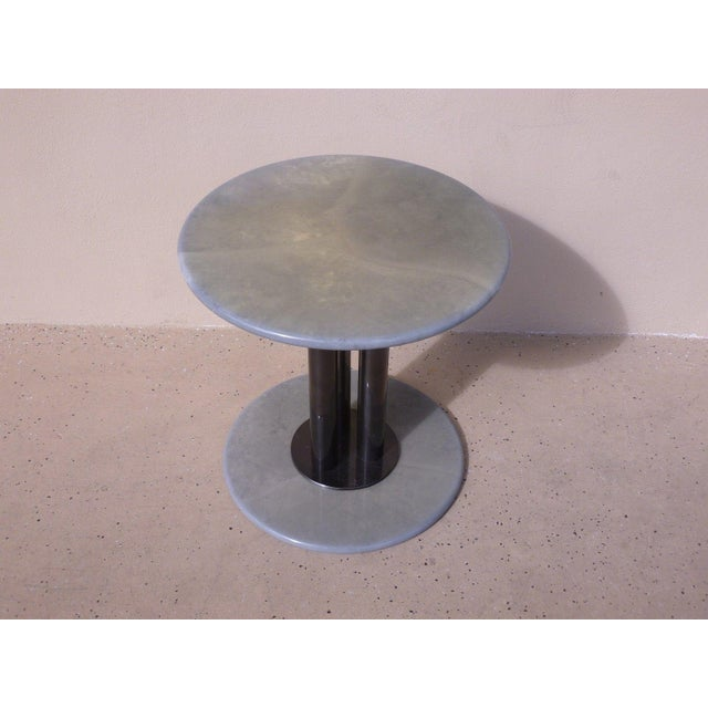 Wood Post Modern 80's Roche Bobois Goatskin / Parchment Three Column Occasional Table For Sale - Image 7 of 9