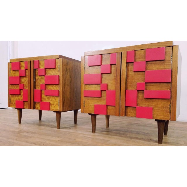 Stunning pair of mid century vintage brutalist Lane end tables or night stands in great condition and painted some time...