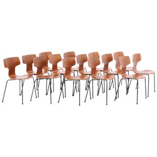 Arne Jacobsen Teak #3103 Stacking Chairs. Set of 12. For Sale