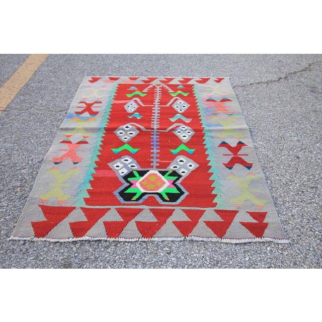"Vintage Turkish Tribal Oushak Handmade Flatwoven Kilim Rug - 2'10"" X 3'2"" - Image 3 of 5"