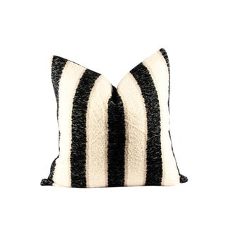 "Black and White Texture Designer Wool Pillow 24"" x 24"" For Sale"