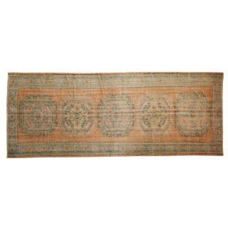 "Vintage Distressed Oushak Rug Runner - 4'6"" X 11'5"" For Sale"