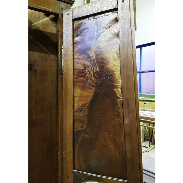 19th Century Antique French Tall Oak Clock Case and Non Working Clock For Sale - Image 10 of 12