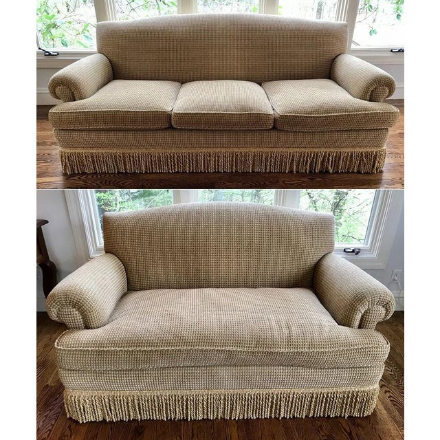 Brunschwig & Fils Oxford Gold Chenille Fabric Sofa & Loveseat - A Pair For Sale - Image 13 of 13