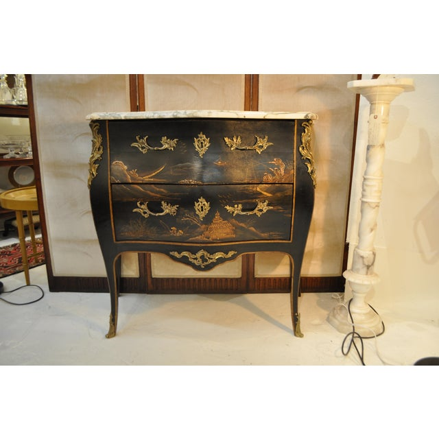 French Louis XV Style Bombe Form Two Drawer Chest With Chinoiserie Decorations and White Marble Top For Sale In Atlanta - Image 6 of 13