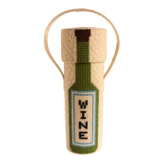 Vintage Needlepoint Wine Tote For Sale
