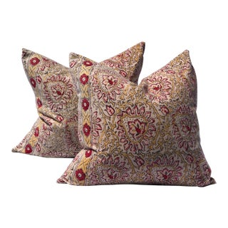 Vintage Indian Floral Red & Gold Block Print Pillows - a Pair For Sale