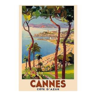 Matted and Framed Vintage Cannes Travel Poster