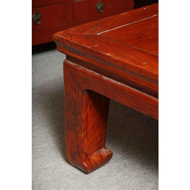Red Antique Chinese Lacquered Elmwood Bed Coffee Table From The 19th Century For