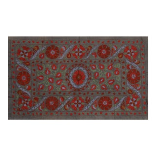"Uzbek Suzani Textile- 4'3″ X 6'10"" For Sale"