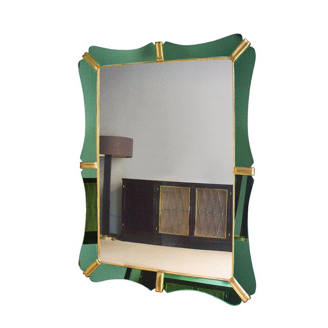 Large mirror, wood structure, eight green mirrors frame, golden leaf wood in between and inner frame, some oxidation....