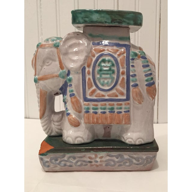 Vintage Painted Terra Cotta Elephant - Image 4 of 7