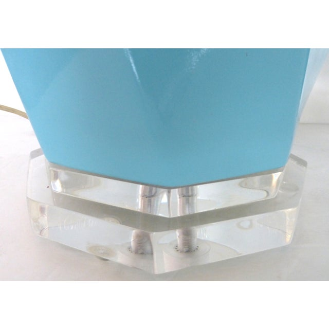 Bauer Lucite, Ceramic & Brass Table Lamps - Pair - Image 6 of 7