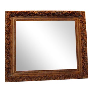 "Antique Carved Gold Gild Beveled Mirror 21"" x 25"" For Sale"