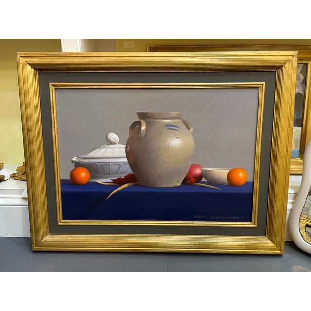 """Gray 1990s """"Arrangement of Two Tempe Oranges and a Fuji Apple"""" Still Life Oil Painting by Robert Douglas Hunter, Framed For Sale - Image 8 of 8"""