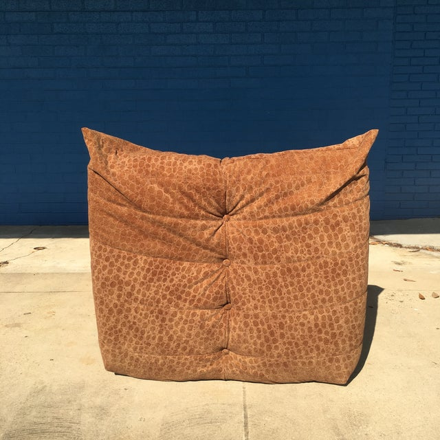 Ligne Roset Vintage Togo Fireside Chair With Custom Faux Alligator Suede For Sale - Image 4 of 13