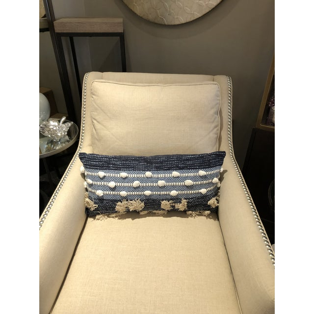 2010s Boho Chic Kenneth Ludwig Chicago Blue Pillow For Sale - Image 5 of 6
