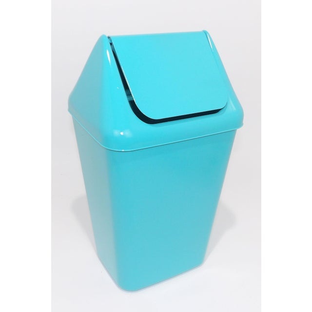 Paint 1980s Modern Aqua Plastic Trash Can Waste Receptacle For Sale - Image 7 of 7