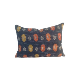 Vintage Block Printed Kantha Quilt Pillow For Sale