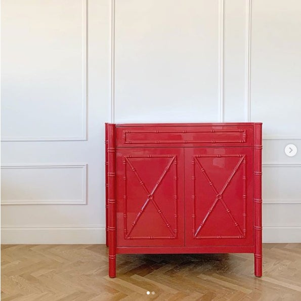Contemporary Featured in The 2020 San Francisco Decorator Showcase — C.E.H. Custom Red Lacquered Bamboo Vanity For Sale - Image 3 of 6