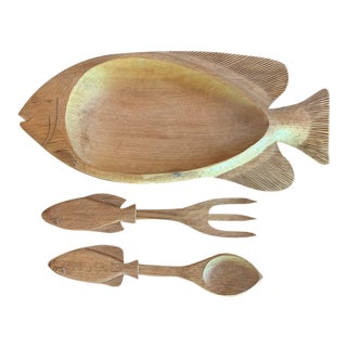 Gerard Fortin Hand Carved Wood Fish Serving Set - 3 Piece Set For Sale
