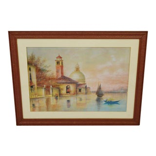 Early Framed Mixed Media Pastel and Watercolor Landscape on Board - Santa Maria Della Salute - Venice, Italy For Sale