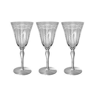 Vintage Hand Cut Wine Glasses Drink Goblet - Set of 3 For Sale