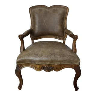 Replica Louis XV Leather Armchair For Sale