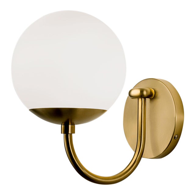 Mid-Century Modern Oxford Single Wall Light in Brushed Brass and Opal Glass For Sale - Image 3 of 4