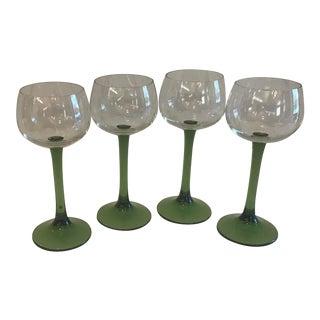 Vintage Green Stem Wine Glasses For Sale