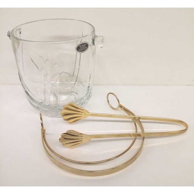 Vintage Italian Murano Glass Gold Plate Ice Bucket & Tongs For Sale In Boston - Image 6 of 8