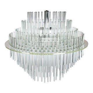 Lucite and Glass Rod Chandelier by Gaetano Sciolari for Lightolier For Sale