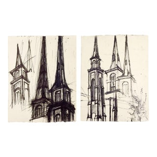 Spires by Preot Buxton Drawings - a Pair For Sale