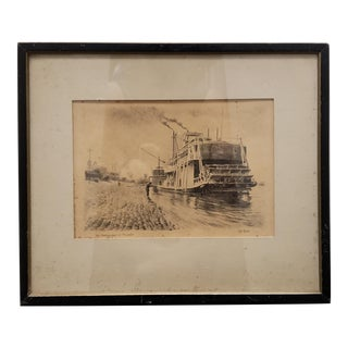 "R.C. Ellis - ""The Mississippi at Memphis"" Ink and Wash Print (Circa 1914) For Sale"